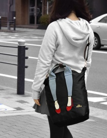 Fashion Black Waterproof Nylon Embroidery Legs Multi-purpose Shoulder Bag