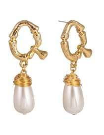 Fashion Pure White Pearl Letter Woven Pearl Earrings