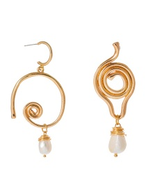 Fashion Gold Geometric Natural Freshwater Pearl Earrings