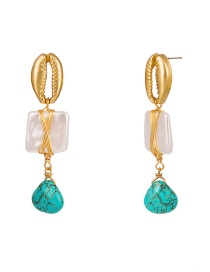 Fashion Gold Alloy Shell Woven Square Pearl Natural Stone Earrings