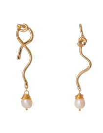Fashion Gold Knotted Natural Freshwater Pearl Earrings