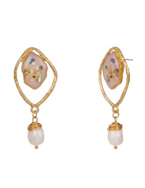 Fashion Gold Geometric Shell Natural Freshwater Pearl Earrings