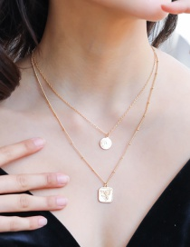 Fashion Gold Double Square Pattern Round Portrait Necklace