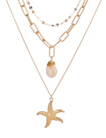 Fashion Gold Shell Multi-layer Metal Starfish Necklace