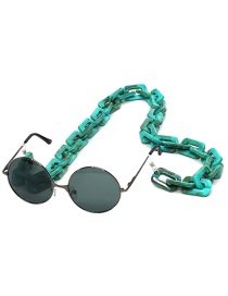 Fashion Lake Green Resin Acrylic Square Anti-stone Environmental Protection Glasses Chain