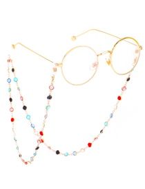 Fashion Gold With Colorful Transparent Glass Bead Chain