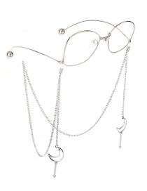 Fashion Silver Non-slip Metal Moon Magic Wand Glasses Chain