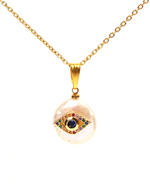 Fashion Gold Pearl Micro-encrusted Eye Palm Necklace