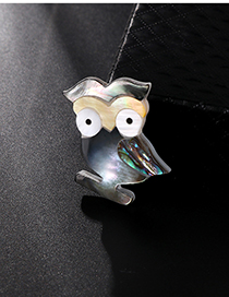 Fashion Color Alloy Resin Shell Owl Brooch