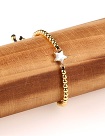 Fashion Gold Pearl Shell Love Copper Plated Color Gold Beads Woven Bracelet