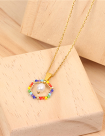 Fashion Gold Glass Rice Beads Woven Pearl Stainless Steel Necklace