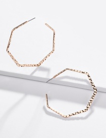 Fashion Gold Scratch Concave And Convex Surface Geometric Polygonal Earrings