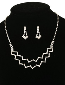 Fashion White Openwork Necklace Earring Set