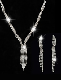 Fashion White Fringed Solid Color Earrings Necklace Set