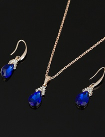 Fashion Blue Diamond Earrings Necklace Set