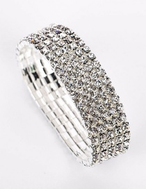 Fashion Silver Silver-plated Five-row Leather Band Bracelet