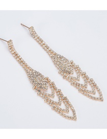 Fashion Gold Full Drill Round Hollow Earrings