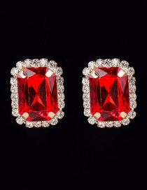Fashion Red Crystal Gemstone Earrings