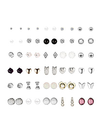 Fashion Silver Red Lip Studded Alloy Stud Earrings 30 Pairs