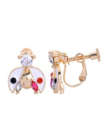 Fashion Short Ear Clip White S925 Silver Needle Insect Ladybug Earrings