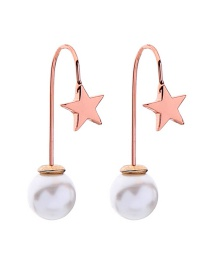 Fashion Pink Gold Star Pearl Stud Earrings
