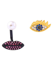 Fashion Black + Gold 925 Sterling Silver Diamond Eye Pearl Earrings