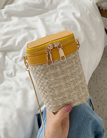 Fashion Yellow Large Woven Chain Crossbody Shoulder Bag
