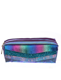 Fashion Purple Lines Double Zipper Fringed Scales Laser Clutch