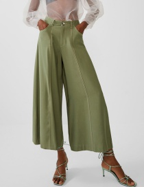Fashion Green Bright Line And Bare Pants