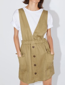 Fashion Khaki Pocket Vest Dress