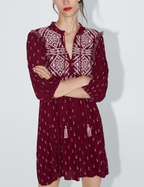 Fashion Red Wine Fringed Embroidered Dress