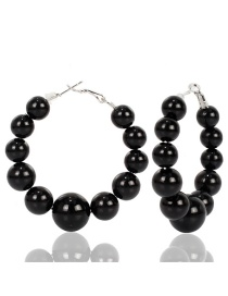 Fashion Black Big Circle Imitation Pearl Earrings