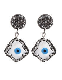 Fashion Gun Black Alloy Studded Shell Eye Geometric Earrings