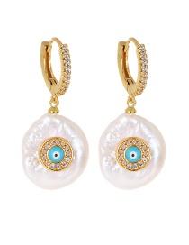 Fashion Gold Copper Inlaid Zircon Pearl Geometric Eye Stud Earrings