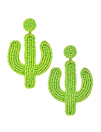 Fashion Green Alloy Rice Bead Cactus Earrings