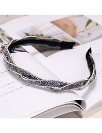 Fashion Lake Blue Diamond Chain Headband