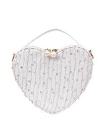 Fashion White Heart-shaped Lace Chain Shoulder Bag Shoulder Bag