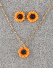 Fashion 15mm Orange Sun Flower Stud Earrings Set