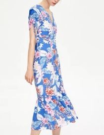 Fashion Color Contrast Printed Fishtail Dress