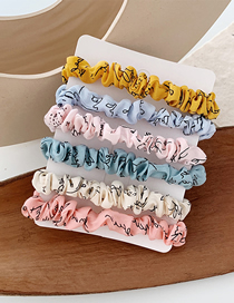 Fashion Letter Cloth Hair Ring 6 Pieces