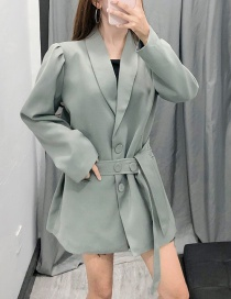 Fashion Light Green Puff Sleeve With Blazer