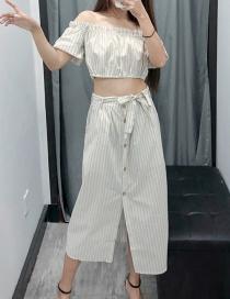 Fashion Khaki One-shoulder Striped Suit Skirt