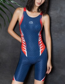 Fashion Blue Printed Boxer One-piece Swimsuit