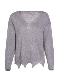 Fashion Gray Deep V Thin Knit Sweater