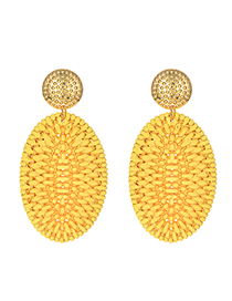 Fashion Yellow Alloy Rattan Oval Stud Earrings