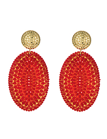 Fashion Red Alloy Rattan Oval Stud Earrings