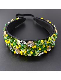 Fashion Green Crystal Wide-neck Non-slip Headband