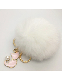 Fashion White Fur Real Rabbit Hair Ball Pendant Keychain