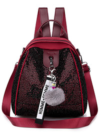 Fashion Red With Pendant Oxford Cloth Sequin Backpack