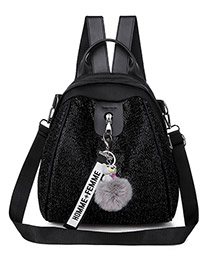 Fashion Black Belt Pendant Oxford Cloth Sequin Backpack